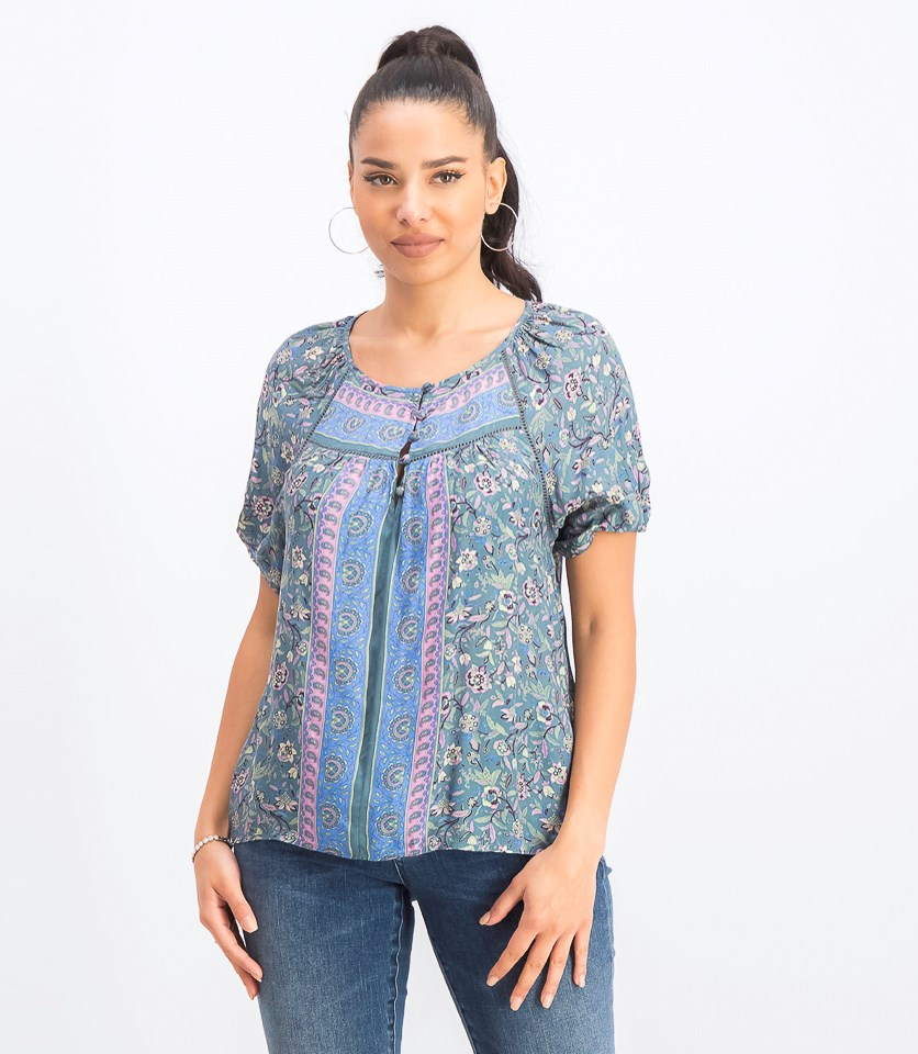 Women's Printed Puff Sleeve Top, Blue/Green