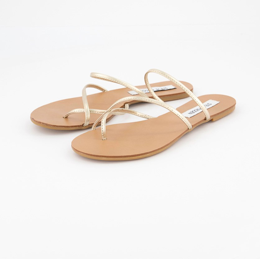 Women's Strappy Leather Sandals, Gold