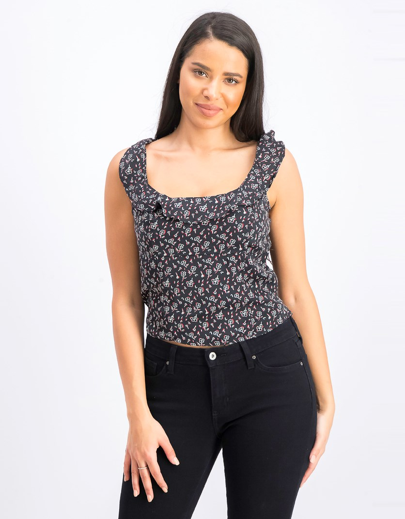 Womens Stay With You Top, Black Combo