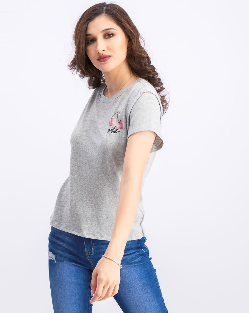 Women's Cherry Short Sleeve Top, Gray