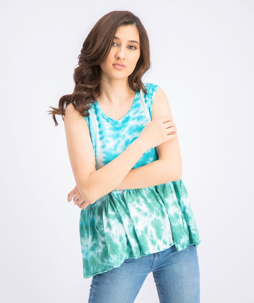 Women's Anytime Tie-Dye Cotton Tank Top, Teal Water Combo