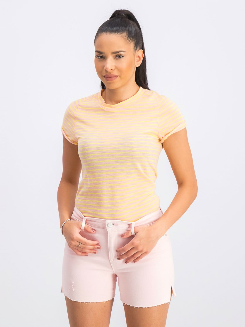 Women's Striped Short Sleeve T-Shirt, Rose Combo