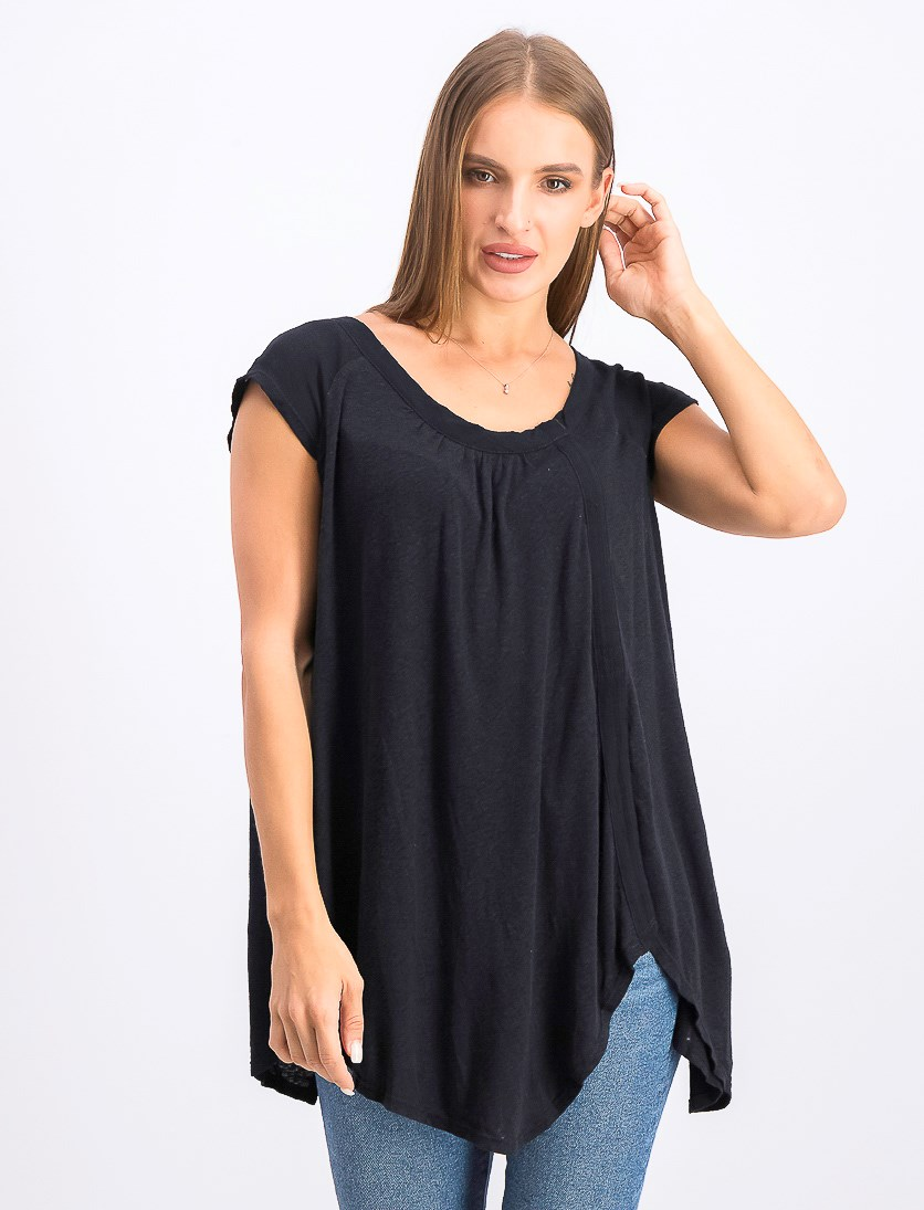 Women's Solid Casual Tee, Black