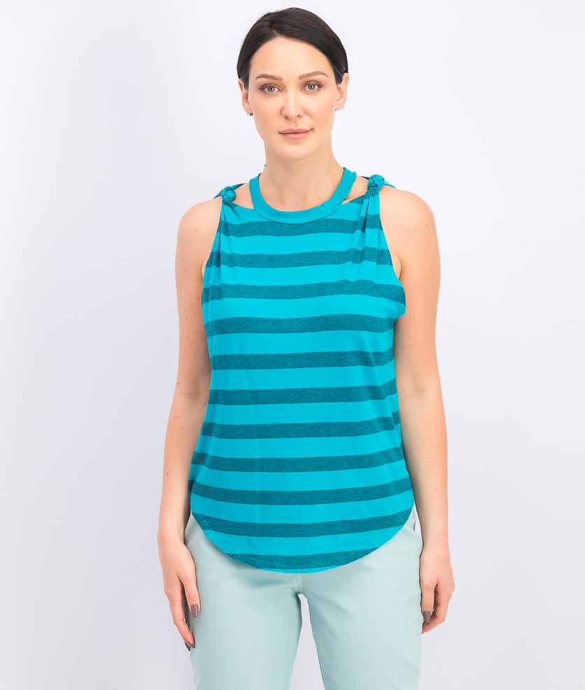 Women's Stripe the Twist Striped Tank, Jungle Teal/Blue