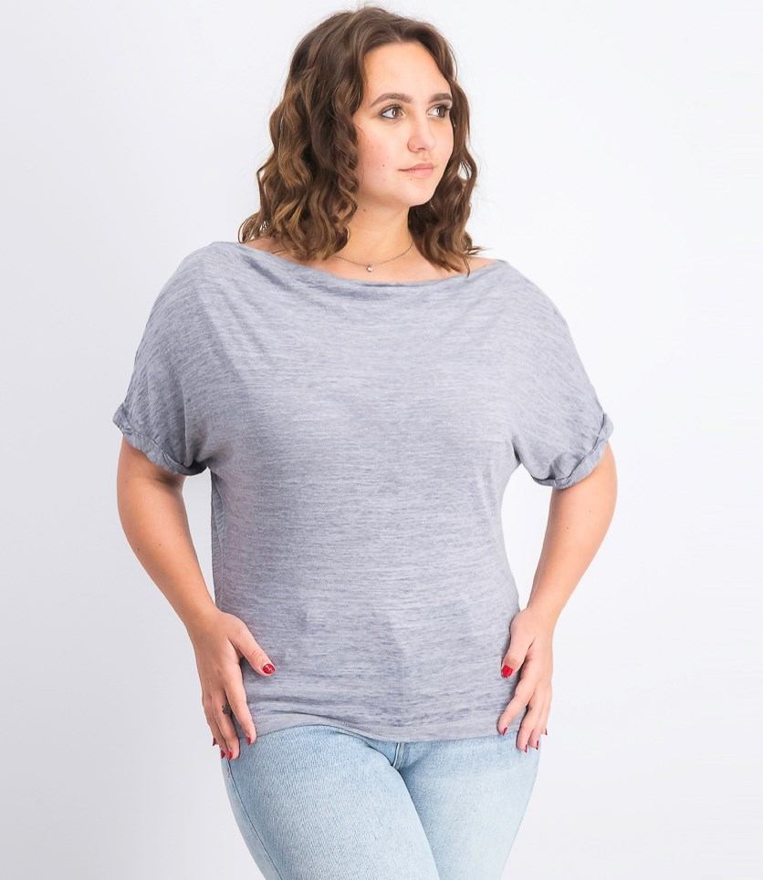 Women's Off-the-Shoulder Burnout T-Shirt, Heather Grey