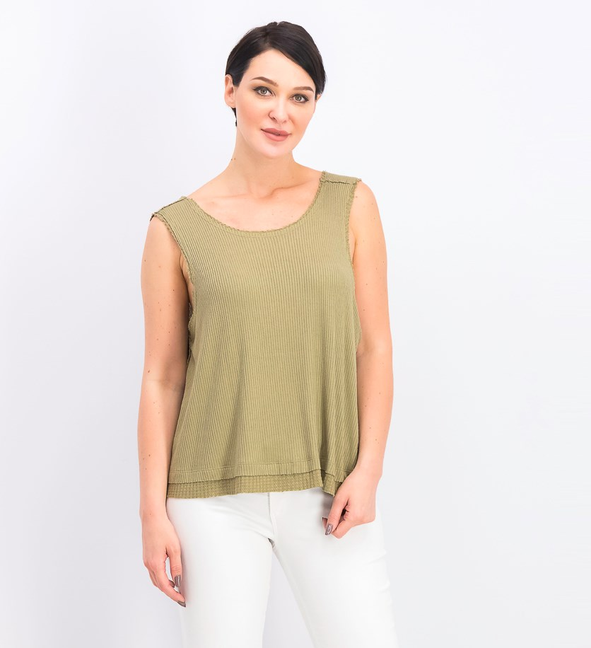 Women's Textured New Love Tank Top, Moss/Olive