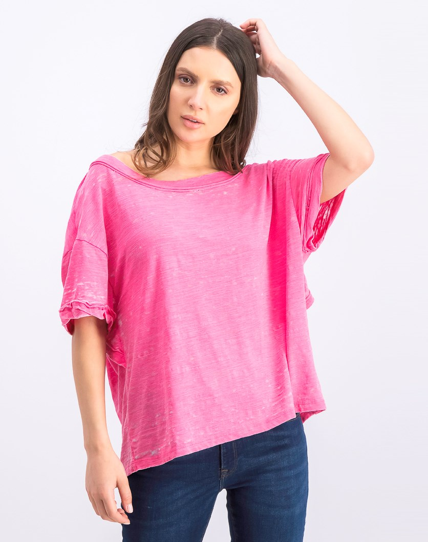 Women's Oversized Viola Open Back Tee, Hot Magenta