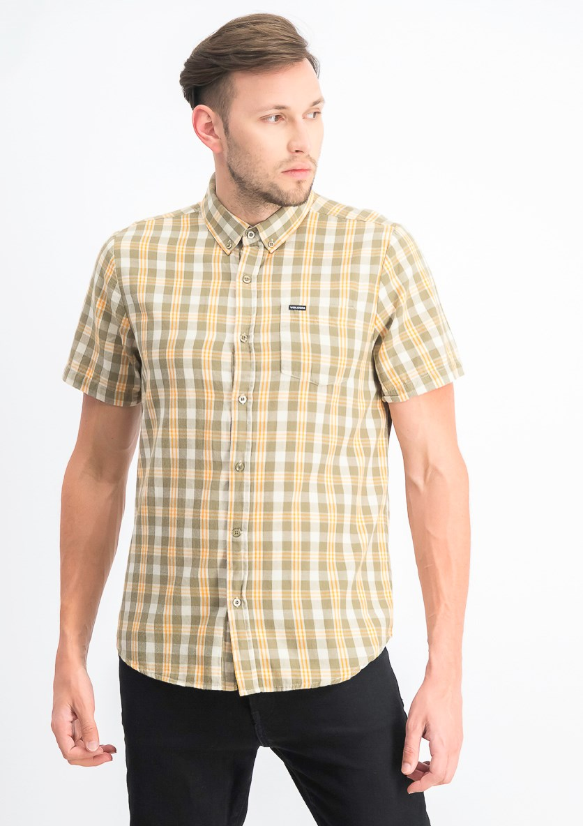 Men's Keiran Plaid Pocket Shirt, White Flash