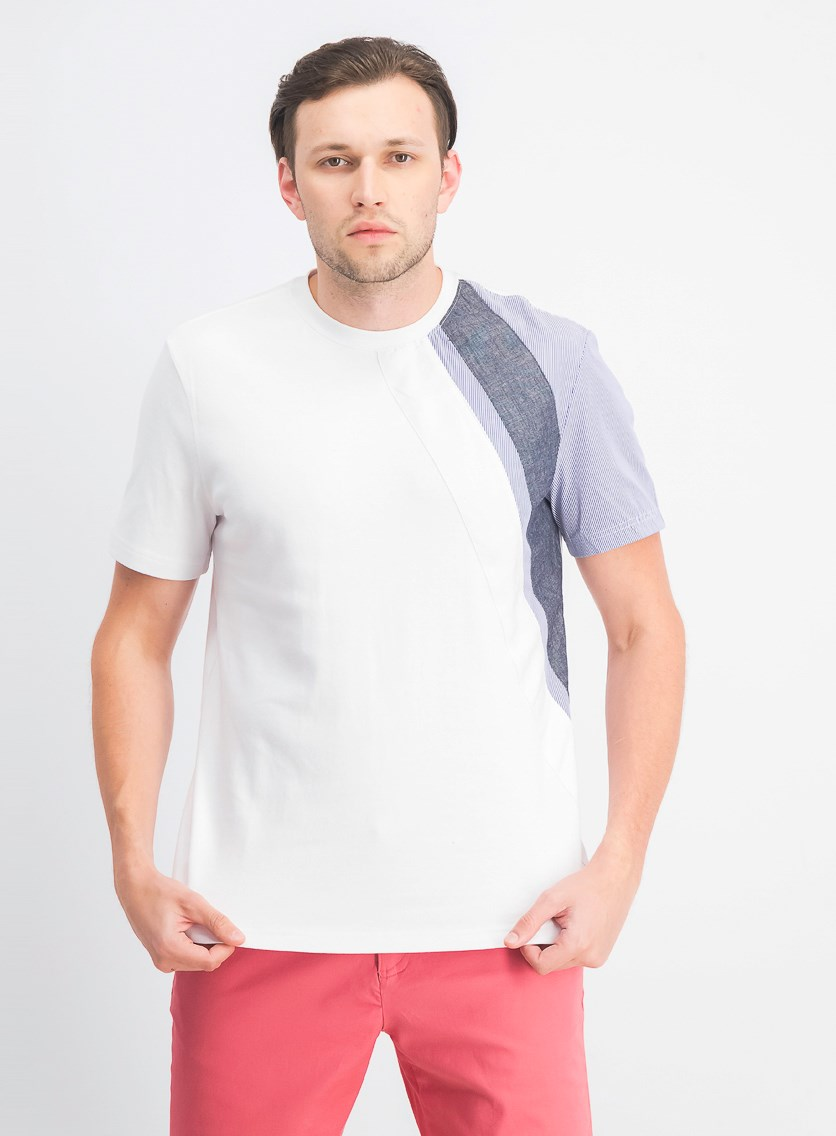 Men's Zig Zag Pieced Tee Shirt, Bright White