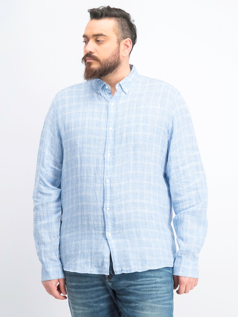 Men's Slim-Fit Melange Check Linen Shirt, Blue