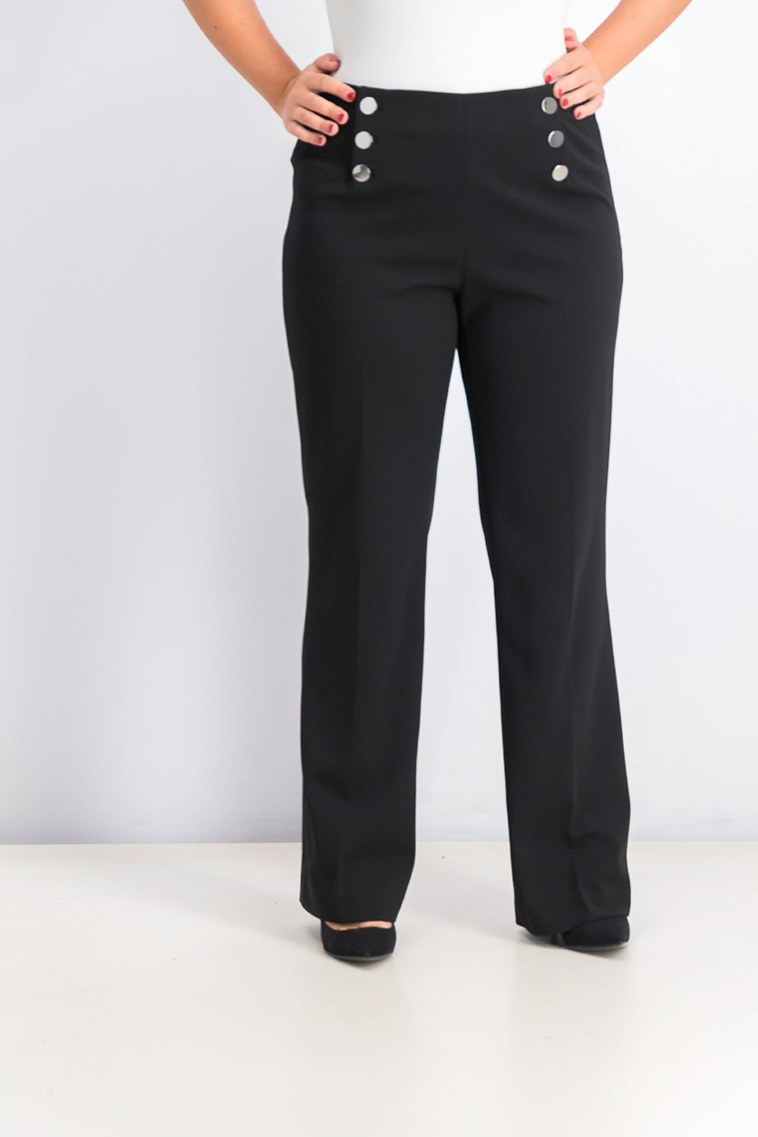 Women's Button Detail Wide-Leg Pants, Black