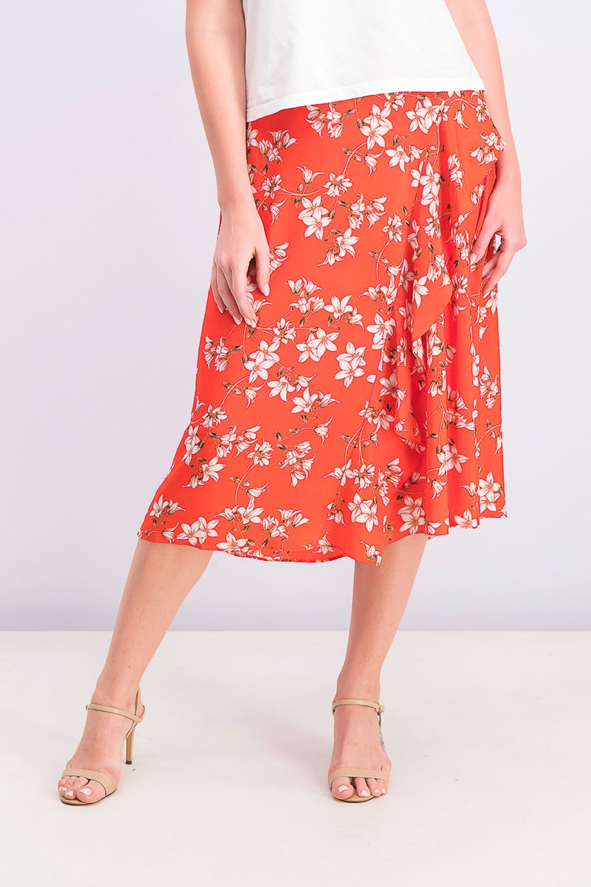 Women's Printed Ruffled Midi Skirt, Tango Combo