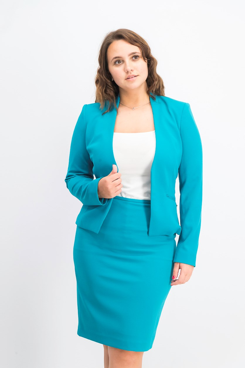 Women's Asymmetrical Open-Front Blazer, Teal