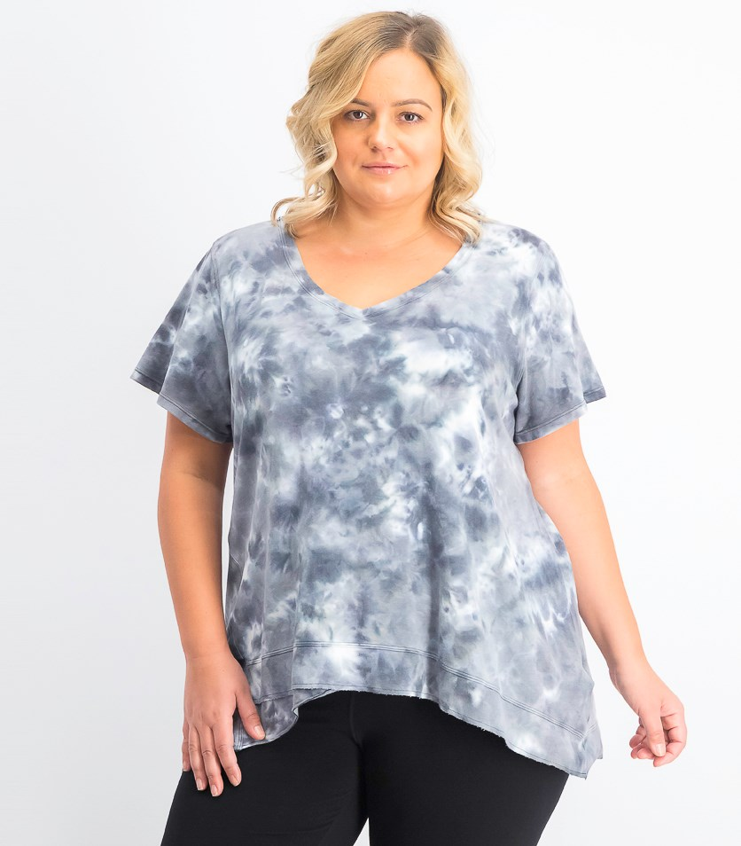 Performance Plus Size Tie-Dyed High-Low Top, Charcoal