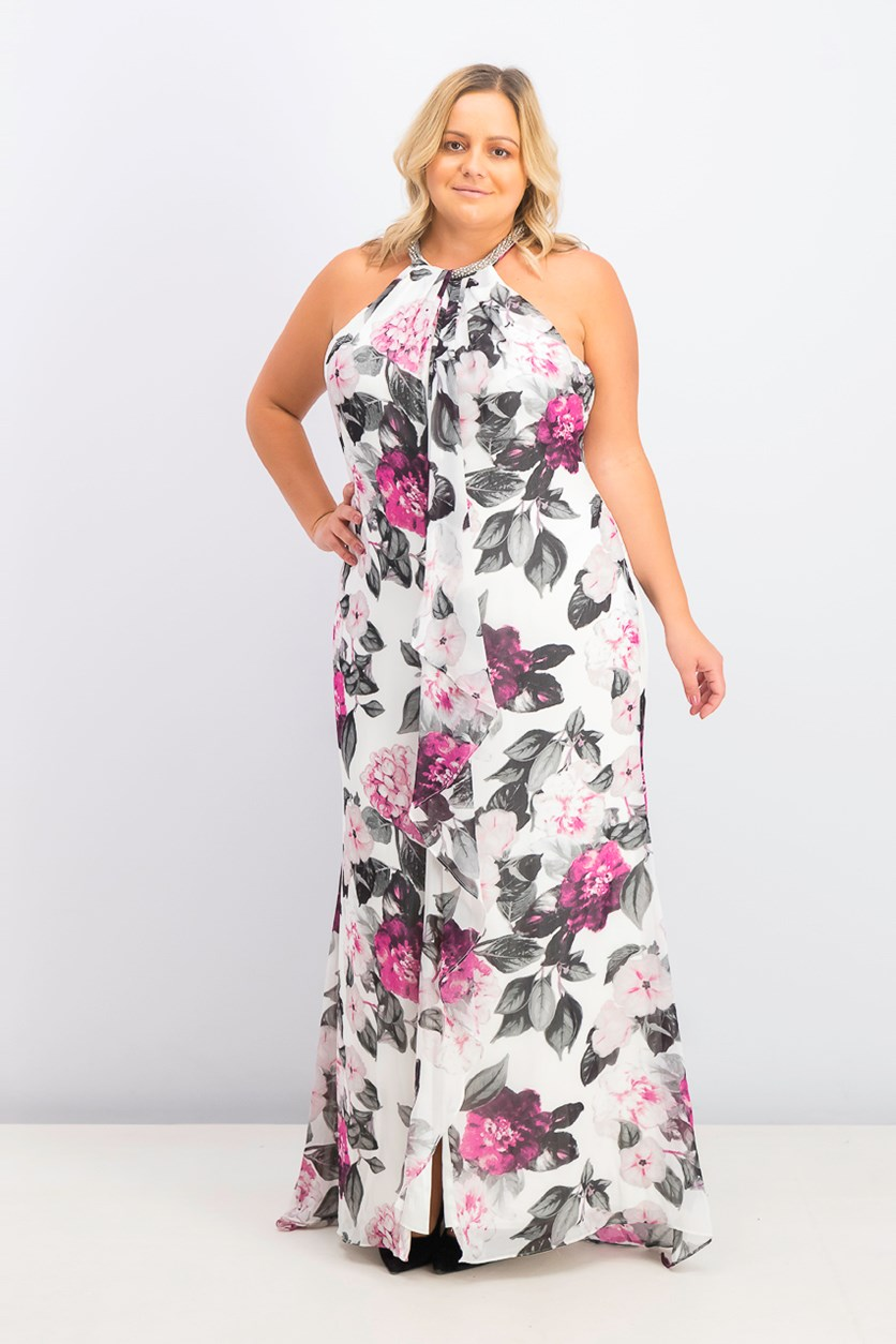 Women's Plus Size Embellished Floral-Print Gown, White/Black/Purple