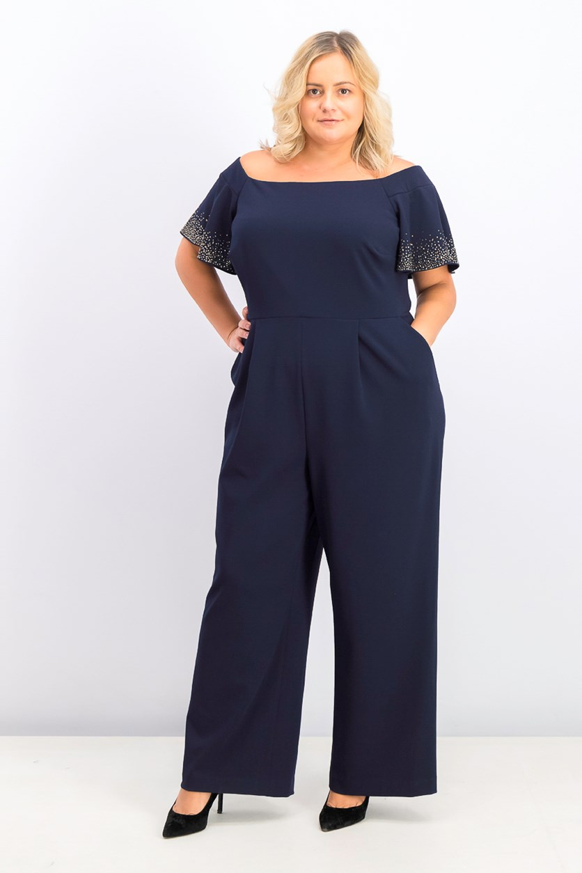 Women's Plus Size Embellished Jumpsuit, Navy Blue