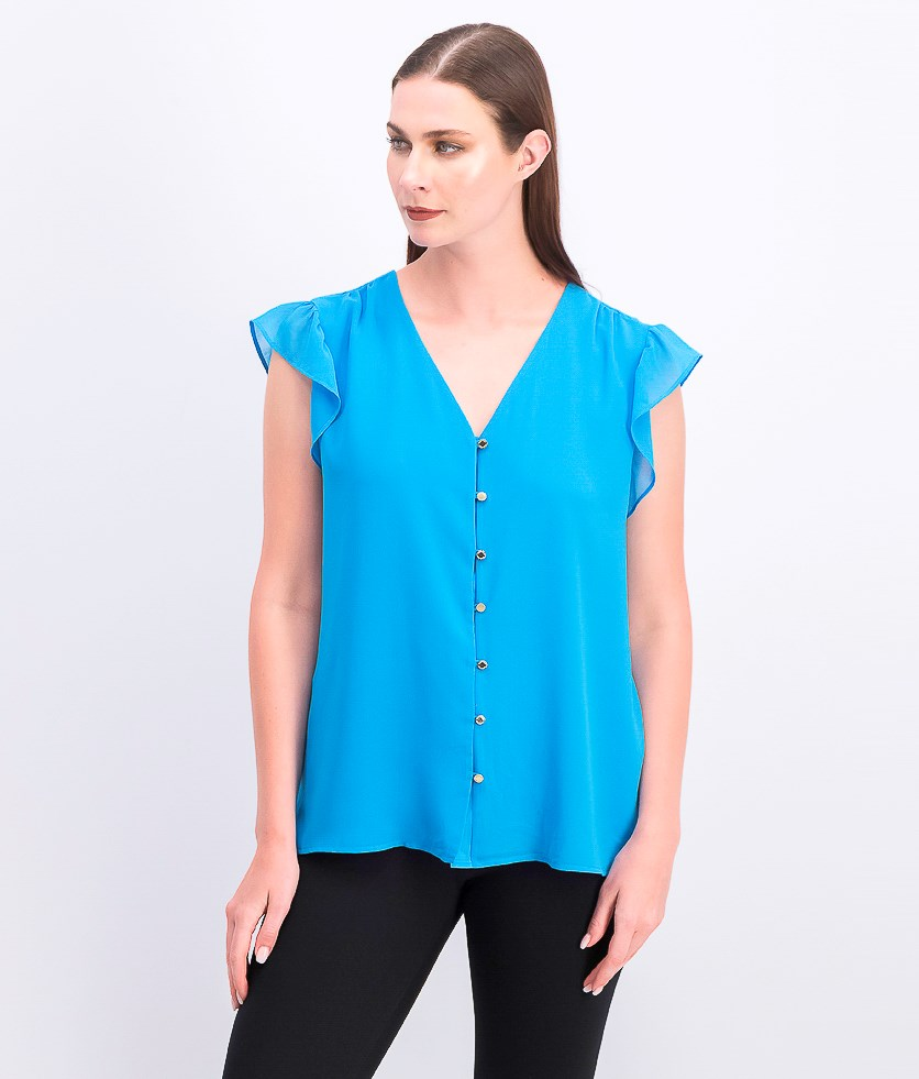 Women's Button-Front Flutter-Sleeve Top, Bright Blue