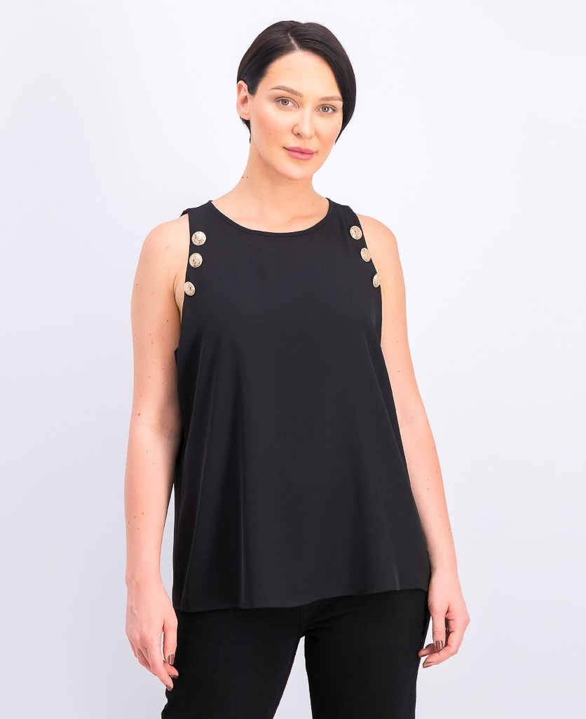 Women's Button-Detail Tank Top, Black