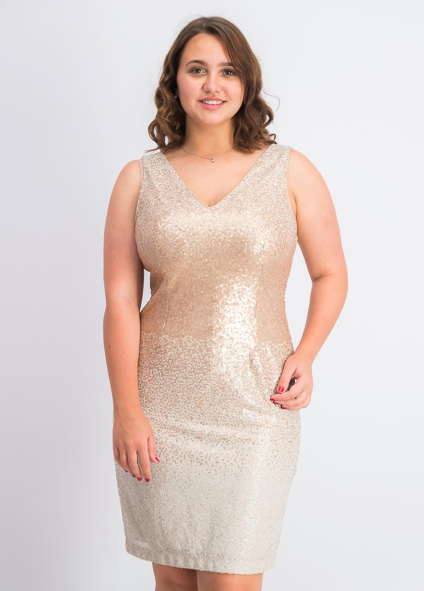 Women's Ombre Sequins Sheath Dress, Eggshell