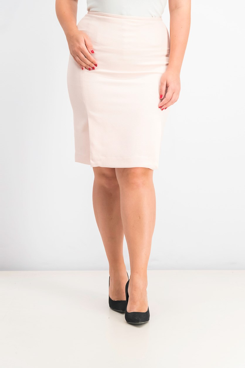 Women's Pleated Twill Pencil Skirt, Pastel Rose