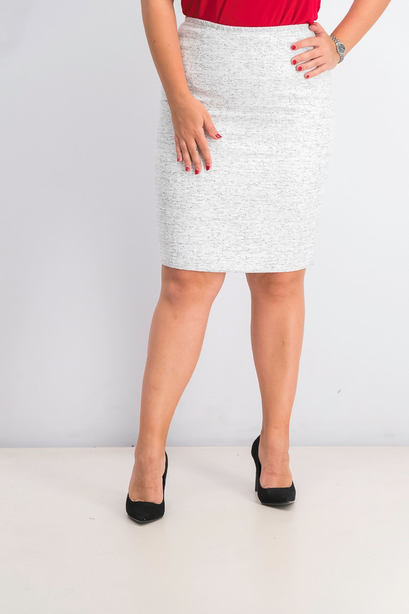 Women's Textured Pencil Skirt, White/Black
