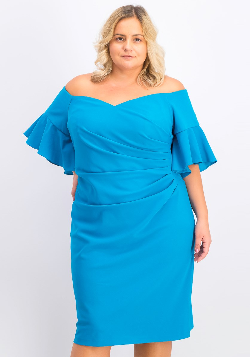 Women's Plus Size Draped Dress, Blue
