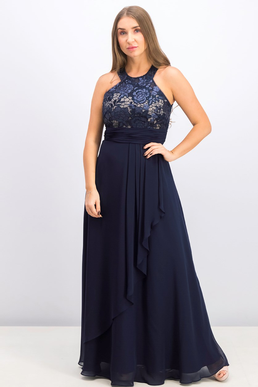 Women's Embellished Ruffled Gown, Indigo