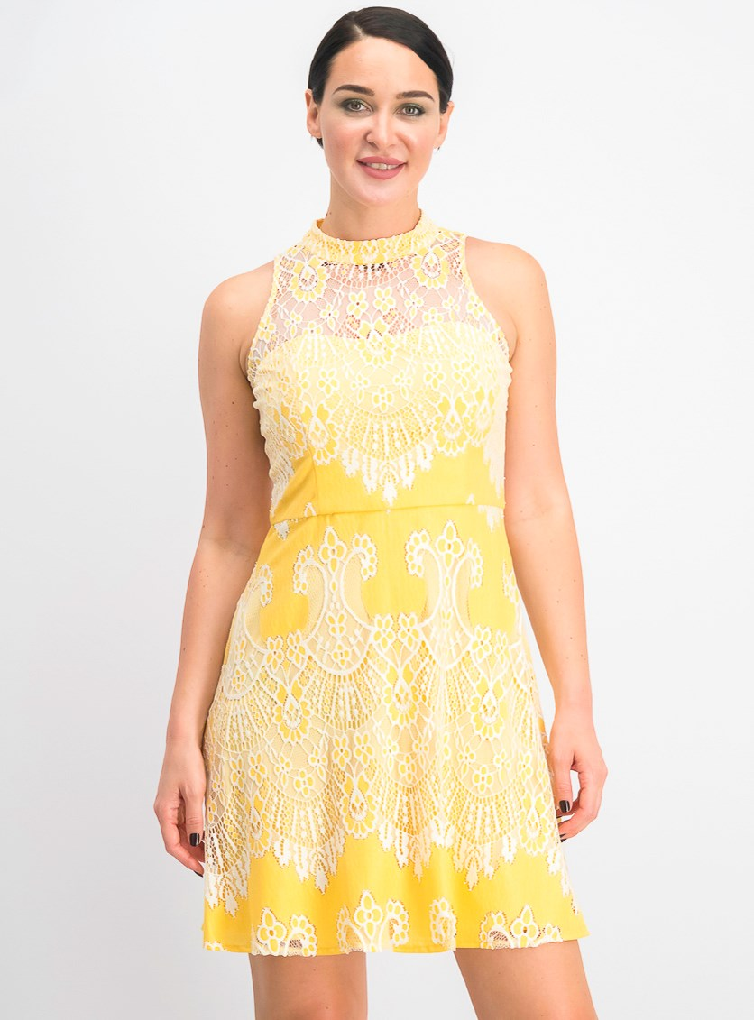Women's Lace a-Line Dress,Yellow