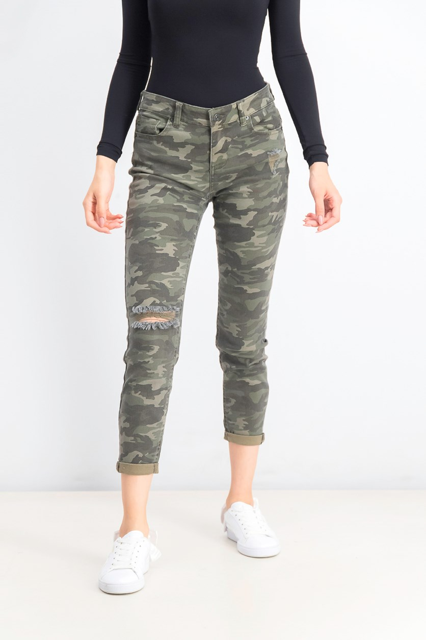 Juniors' Ripped Camo Cropped Skinny Jeans, Green Combo