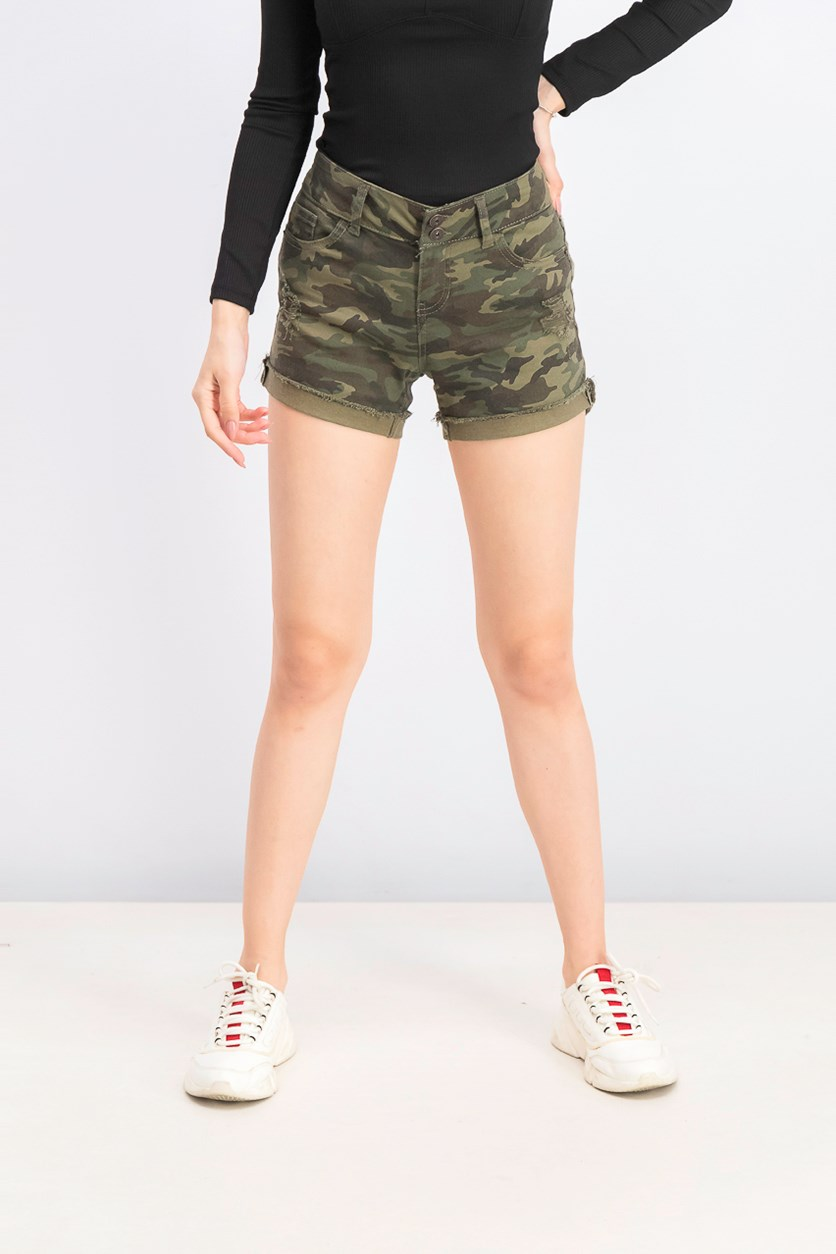 Women's Low Rise Camouflage Shorts, Army Green Combo