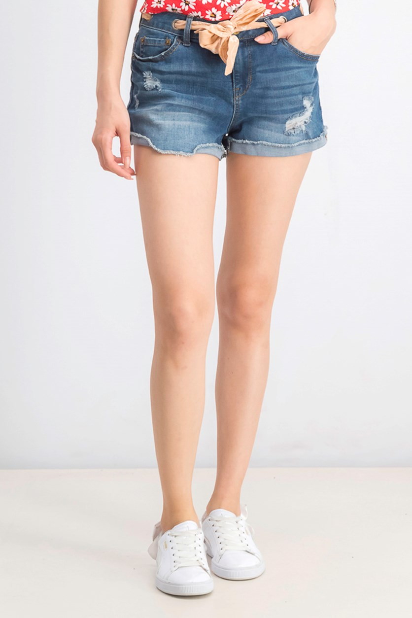 Juniors' Bandanna-Belted Cuffed Denim Shorts, Andi