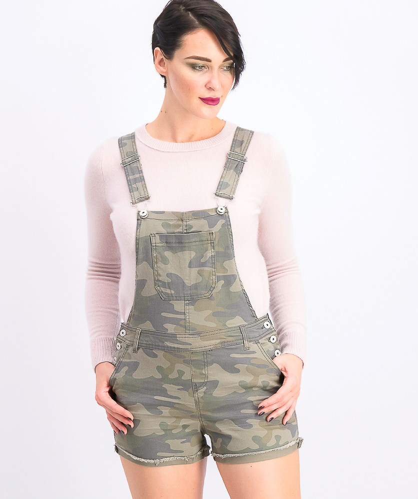 Juniors' Shorts Overalls, Camo