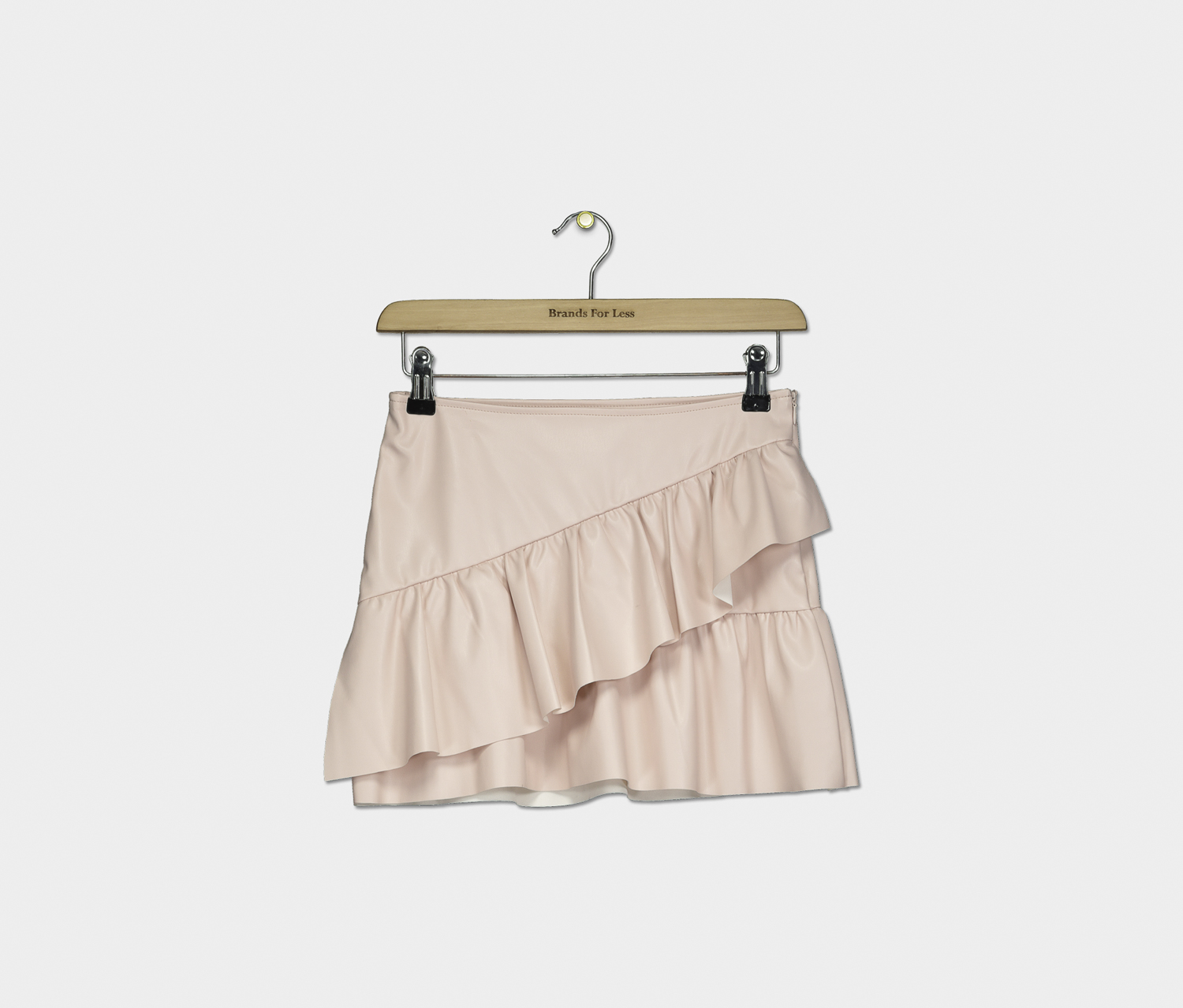 Girl's Layered Leather Skirt, Light Pink