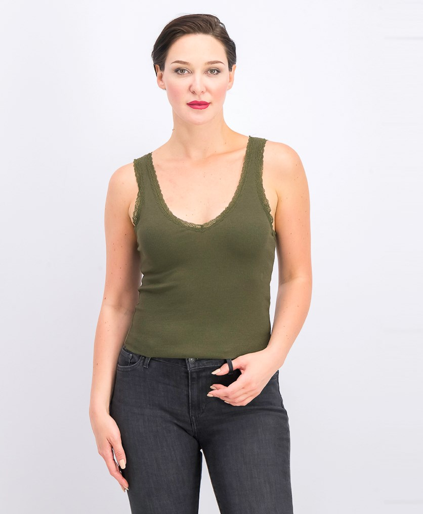 Women's Lace Trimmed Camisole, Moss Green