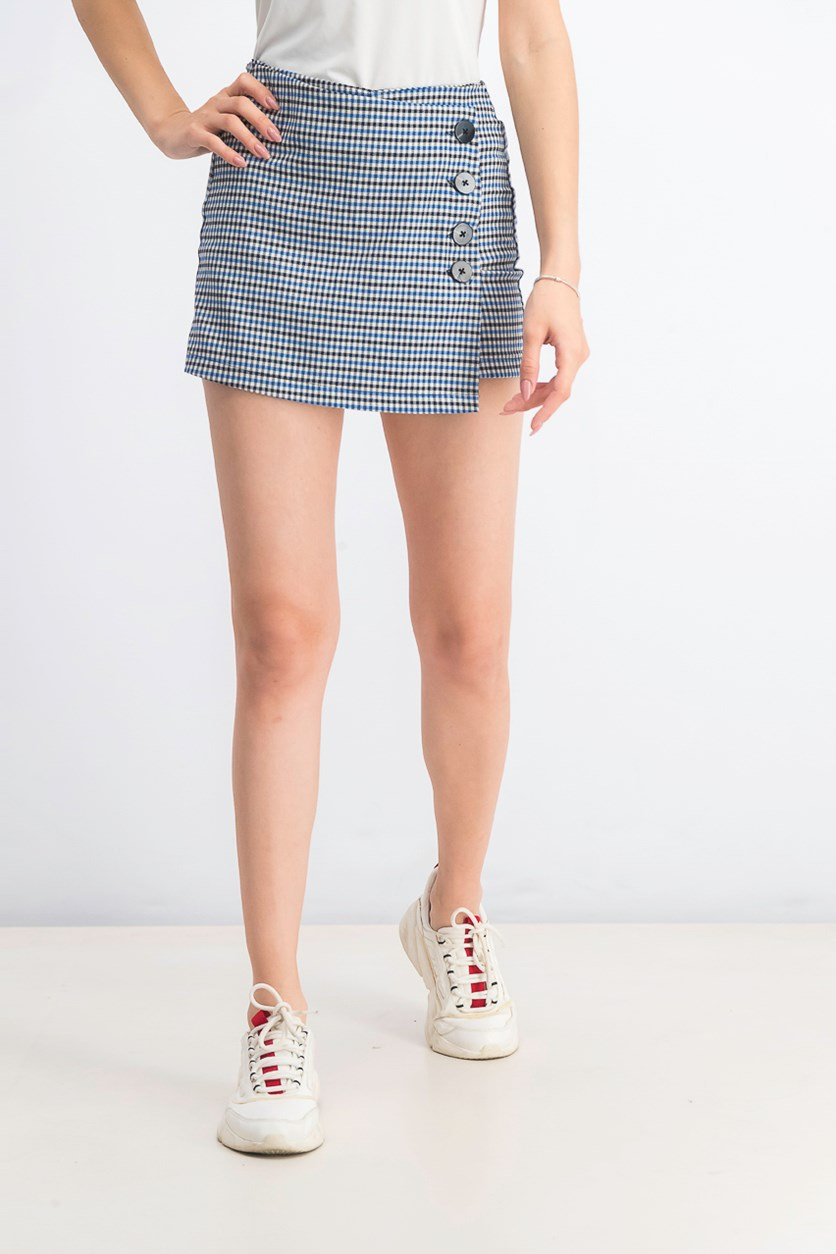 Women's Plaid Skort, Blue/Black