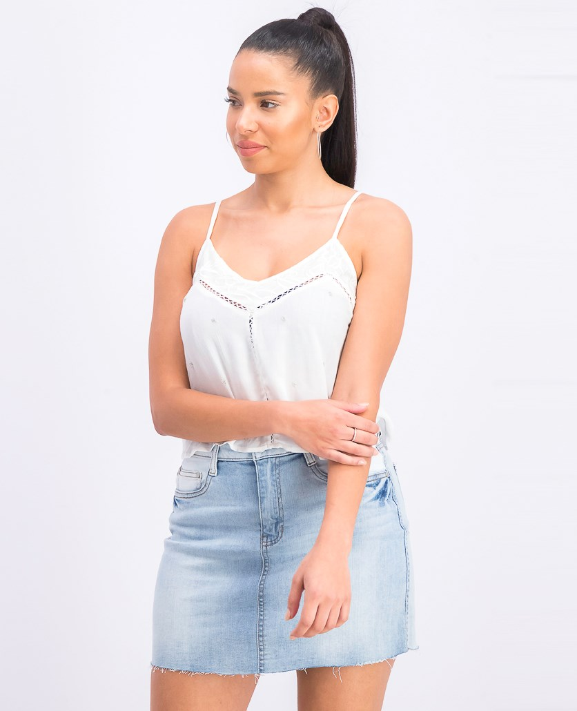 Women's Embroidered Tank Top, White