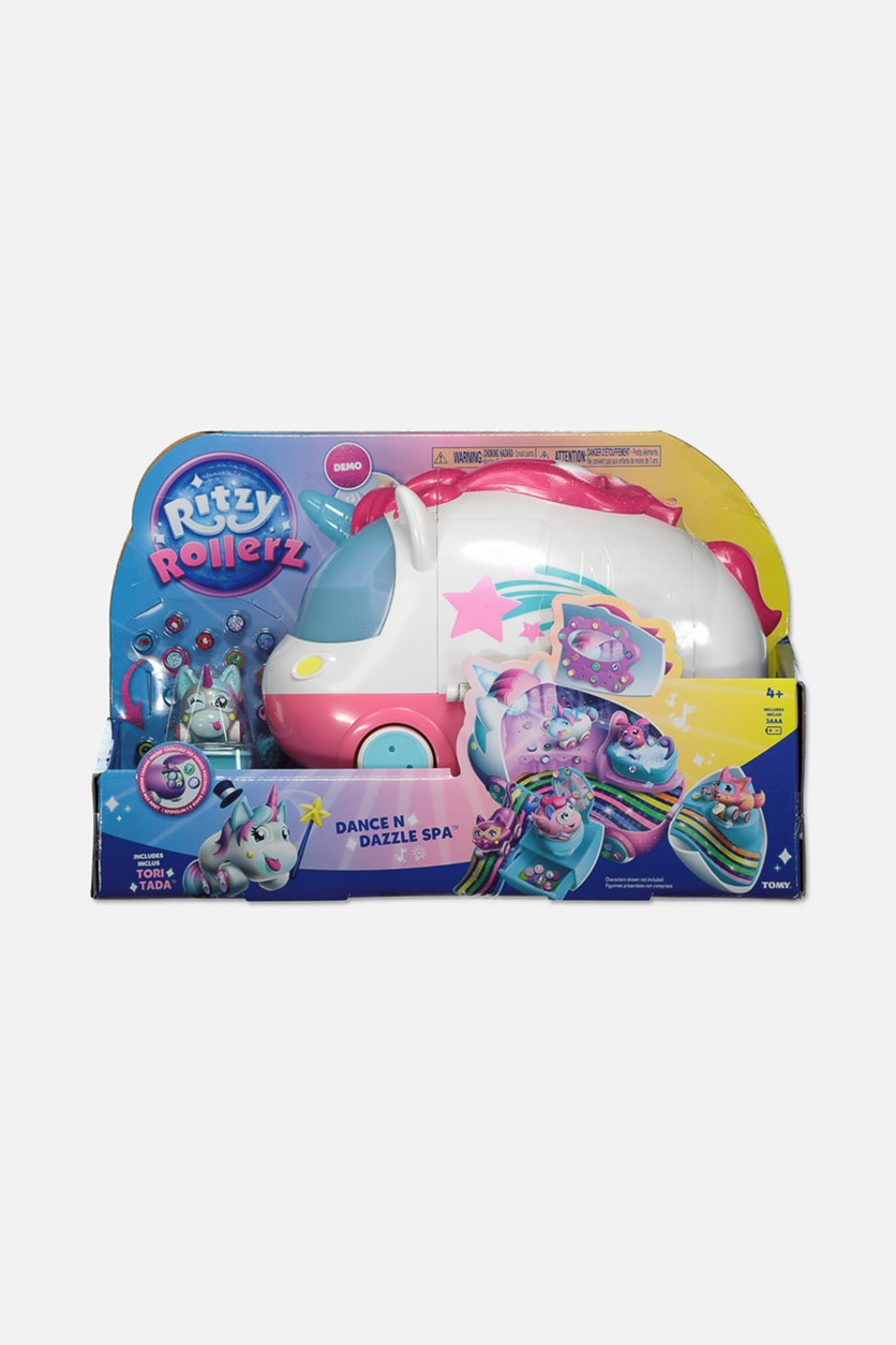 Ritzy Rollerz Toy Cars with Surprise Charms, Dance n Dazzle Spa Playset with Tori Tada, Pink Combo