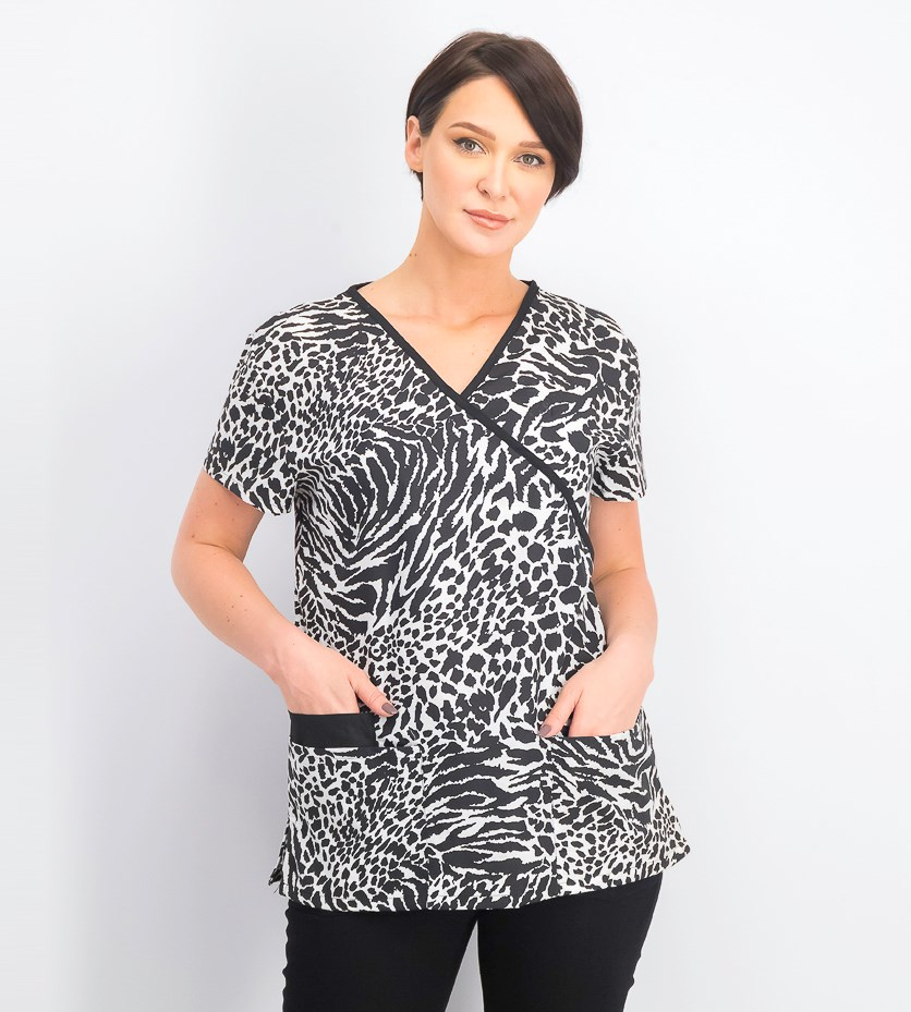 Women's Printed Scrub Suit Top, Black/White