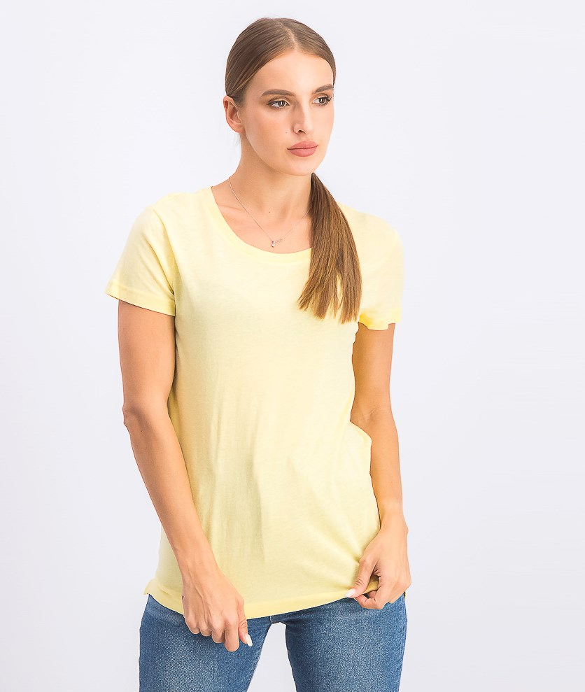 Women's Short Sleeve Plain Top, Yellow
