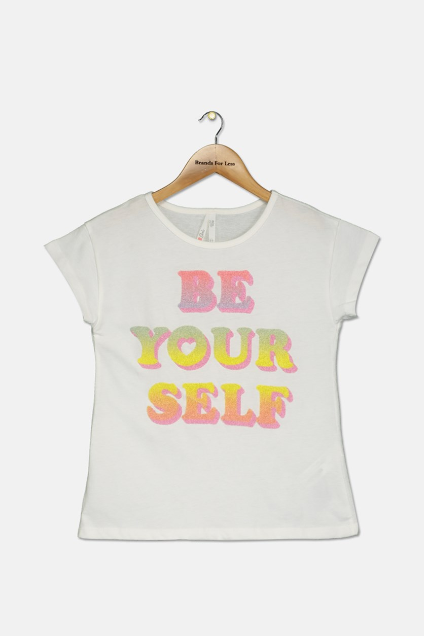 Big Girl's Be Your Self Print Top, White
