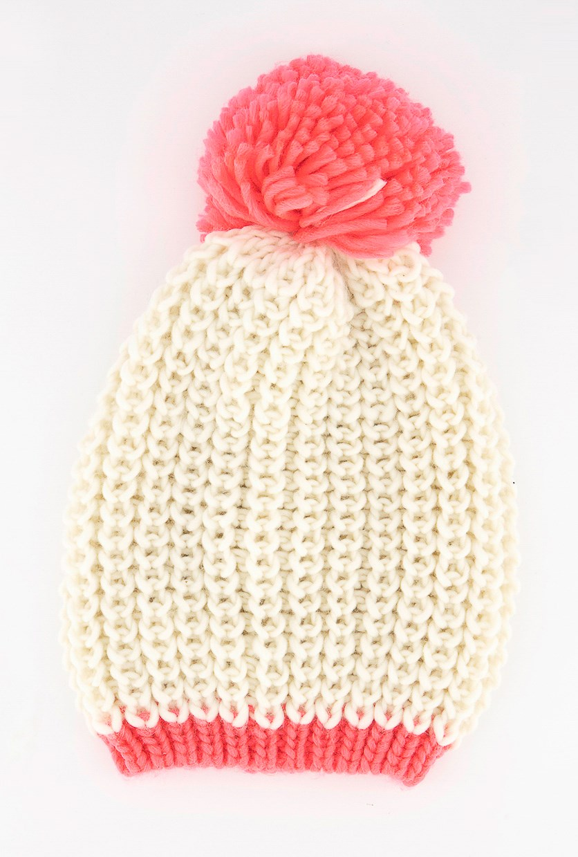 Women's Hat, Ivory/Pink