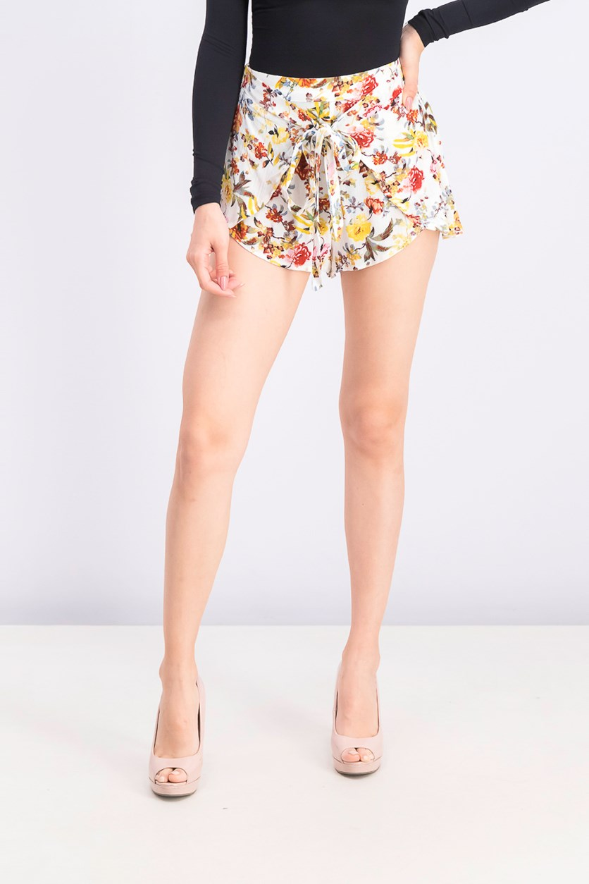 Women's Floral Tie Front Pull On Shorts, White/Yellow/Red