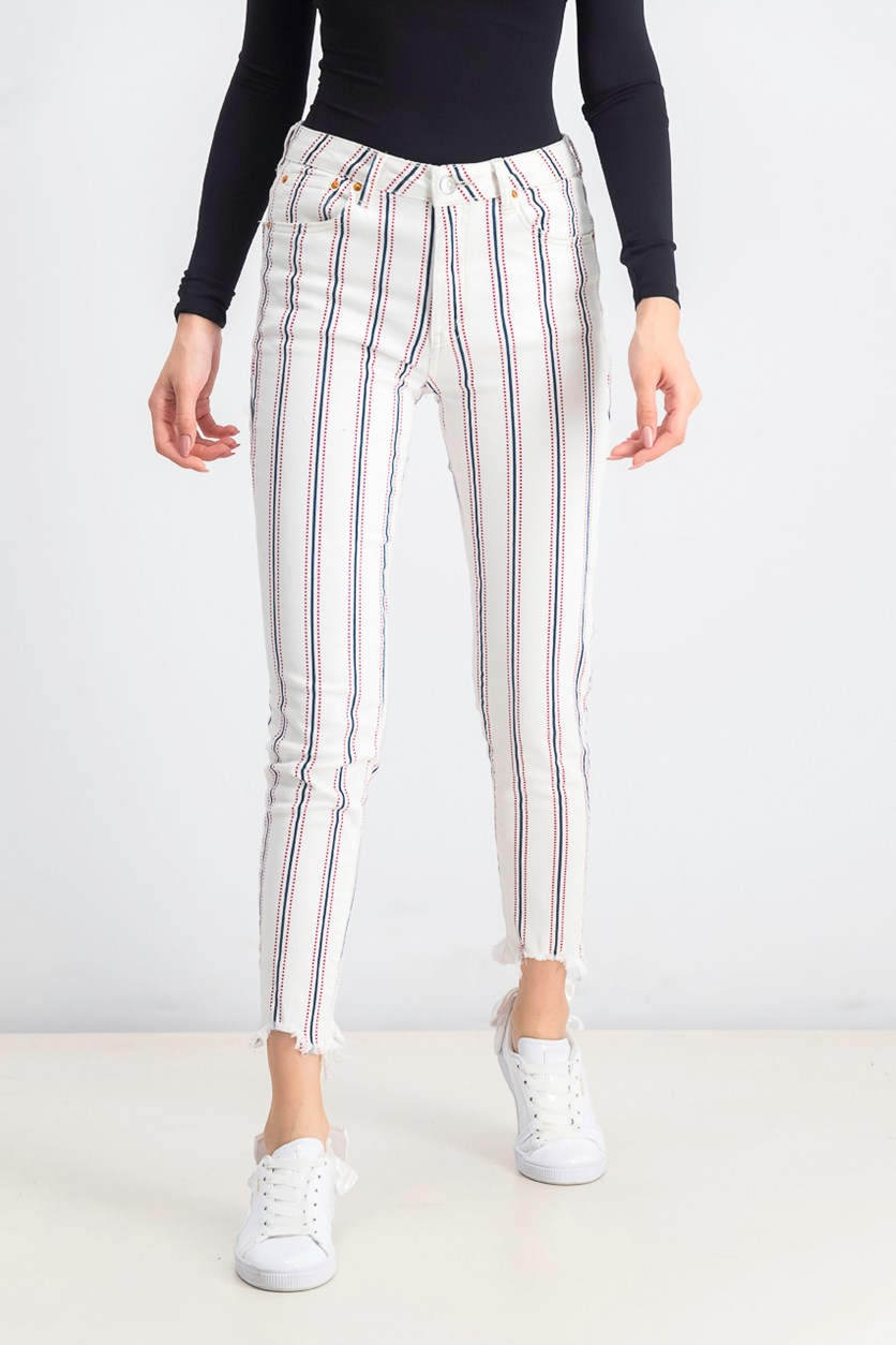 Women's Mid Rise Skinny Fit Jeans, White Combo