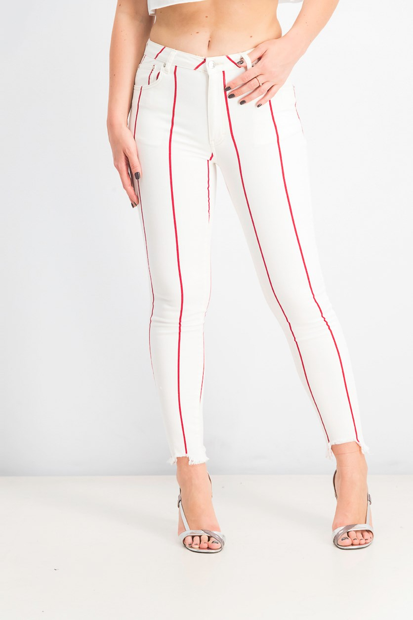 Women's Mid Rise Skinny Fit Jeans, Red/White