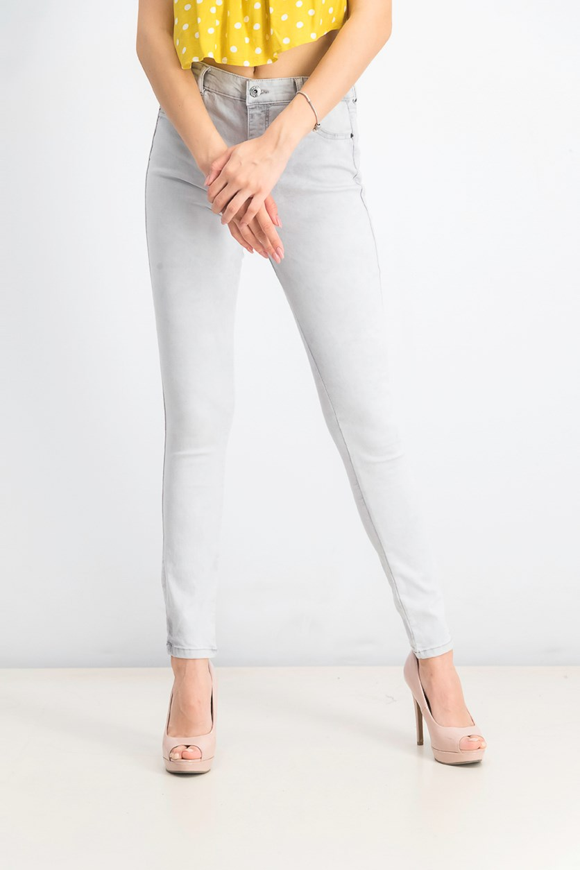 Women's Skinny Mid Waist Jeans, Grey Wash