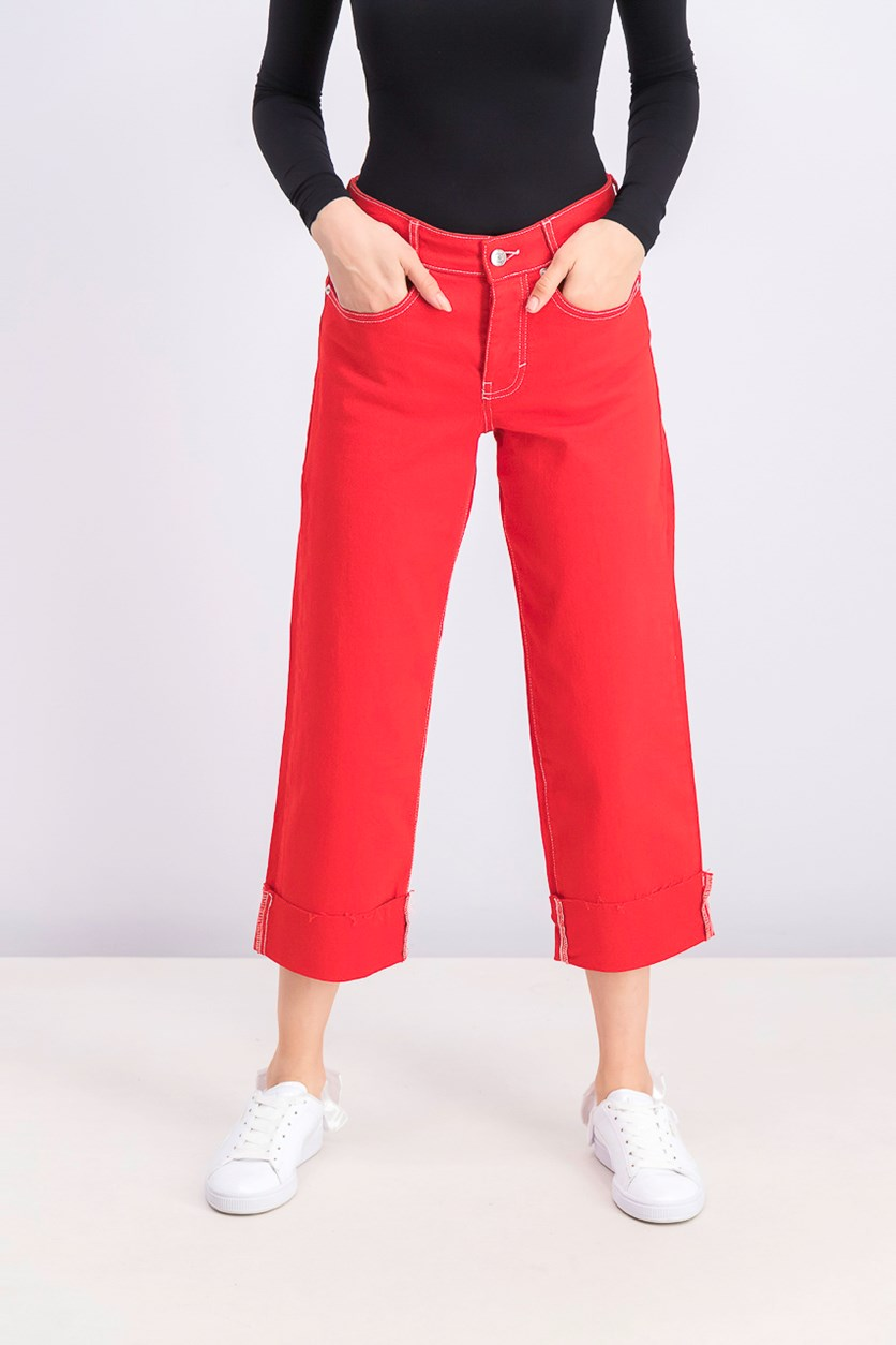 Women's Five Pocket Pants, Red