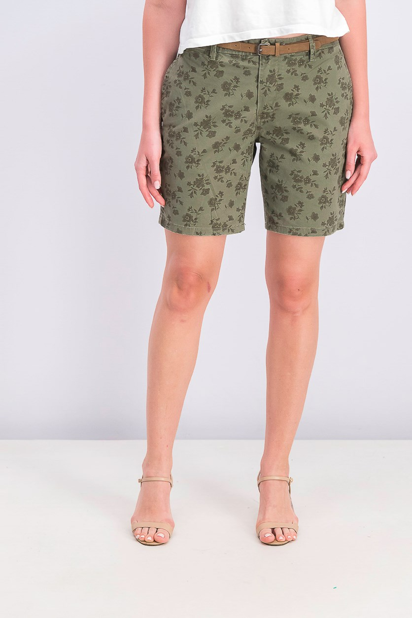 Women's Floral Print Belted Shorts, Olive