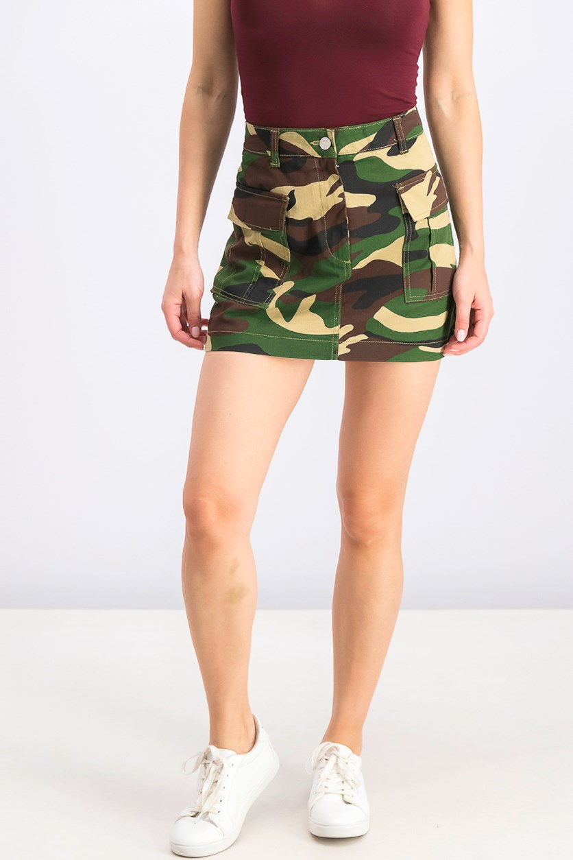 Women's Belted Mini Skirt, Camouflage