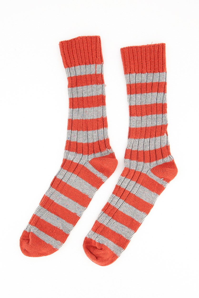 Men's One Pair of Stripe Socks, Red/Gray