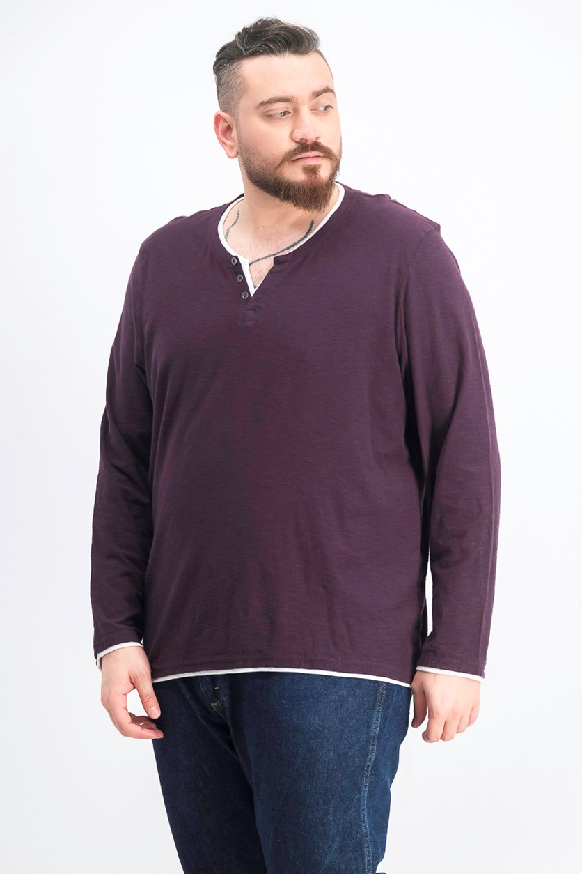 Men's Long-Sleeve Split-Neck T-Shirt,  Vintage
